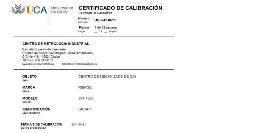 Certificado de Calibración MBC